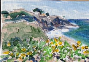 "Painting at Crystal Cove, I sold this piece and the next one to a passing lady.  She asked to see what I was doing and said ""Oh, your a real artist.  Do you sell your work?""  Yes, and I sold 2 pieces to her. It was a fun day."