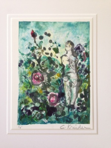 Helen a Monotype. I love the loose quality of this print.  I also sold this at the Garden Tour Exhibit.  More icing on the cake.