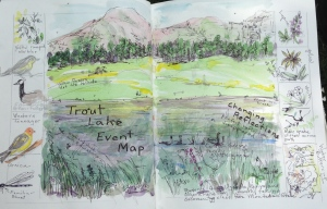Event map from Trout Lake. Page in my journal