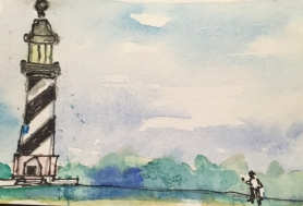 My grandson did the Hatteras Lighthouse and I finished the painting.