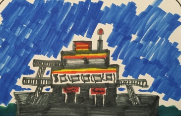 The Ferry to Ocracoke Island. My oldest grandson's work.
